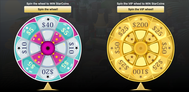movie star planet spin the wheel
